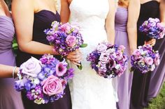 Purple wedding flowers Purple bridesmaid dresses @Rlovefloraldesigns