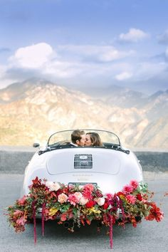 Vintage Wedding Car Decoration With Colorful Flowers