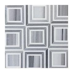 Square Tile Waterjet Mosaic Marmara Grey & White Thassos Marble