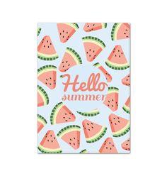 Carte postale pastèque Hello Summer - watermelon - illustration - papeterie : Affiches, illustrations, posters par le-mog