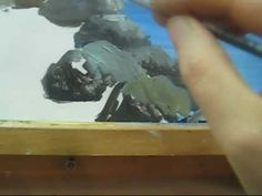 Obviously, a student of Bob Ross! How to paint stones in a seascape Part 5 Acrylic Painting Lessons, Acrylic Painting Tutorials, Watercolour Tutorials, Painting Videos, Acrylic Art, Stone Painting, Painting & Drawing, Seascape Paintings, Bob Ross Paintings