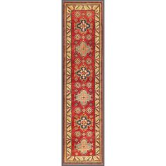 Afghan Hand-knotted Kazak Red/ Ivory Wool Rug (2'4 x 9'10) | Overstock.com $419