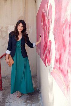 pink maxi dress with blazer - Google Search
