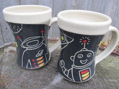 Space Guy Mugs  Set of 2 by jeansclaystudio on Etsy, $46.00
