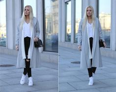 ♔ Lovely Street Style outfit grey coat black leggings white sneakers and black bag combination.
