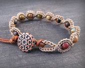 Earthy Multi Color Crochet Bracelet, Boho Style Jewelry, Beaded Bohemian Bracelet with Copper accents