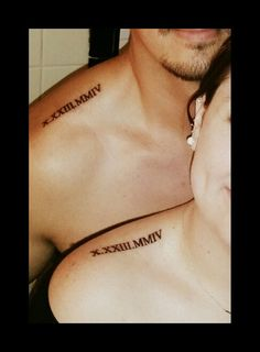 Couple of tattoos. Our wedding date in Roman numerals partner tattoo . Couple of tattoos. Our wedding date in Roman numerals partners tattoo Couple of tattoos. Our marriage ceremony date in Roman numerals associate tattoo … Co… Tattoos Skull, Mini Tattoos, New Tattoos, Sleeve Tattoos, Tatoos, Arabic Tattoos, Married Couple Tattoos, Couple Tattoos Love, Couple Tattoos Unique Meaningful