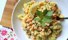 Cooking with Šůša : Bramborový salát s cizrnou Food Hacks, Guacamole, Potato Salad, Cauliflower, Salads, Healthy Recipes, Healthy Food, Potatoes, Vegetarian