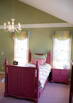 painted stripe or 'pretend beam' for cozier room definition.  Accents the height but keeps your eye low where the action is.  I like!  Cute painted pink furniture.