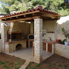 Patio Design Ideas is the most important thing in outdoor kitchen design because it is where you relax and eat your favorite meals. Outdoor Barbeque, Pizza Oven Outdoor, Parrilla Exterior, Garden Sink, Backyard Fireplace, Backyard Patio Designs, Swimming Pools Backyard, Outdoor Kitchen Design, Pergola