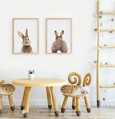 Decoración cuarto de niños conejo imprimir arte de la pared