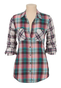 Mixed Plaid print Button Down shirt - maurices.com