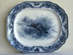 Antique Cauldon Flow Blue Transferware Thanksgiving Turkey Serving Platter Vtg