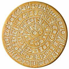 The Phaistos Disc (also spelled Phaistos Disk, Phaestos Disc) is a disk of fired clay from the Minoan palace of Phaistos on the Greek island of Crete, possibly dating to the middle or late Minoan Bronze Age (2nd millennium BC). Side B