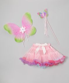Take a look at this Pink & Green Butterfly Wings Set - Toddler & Girls by Sparkle Adventure on #zulily today!