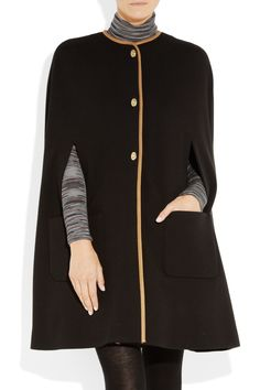 M Missoni Leather Trimmed Twill Cape £725. It has a kind of a sixties vibe that I love but isn't over the top so would go with most things, I like this look though, a short wool skirt and roll neck top underneath with a pair of black wool tights and black shoes to extend the leg.