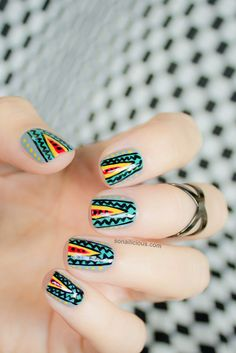 Tribal nails - Missoni. for MBFWA.  Click through for manicure details.