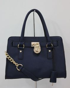 Michael Michael Kors Hamilton Satchel Blue Gloden detail --- maybe ill justify this little beauty if i get all a's again in my classes ;)