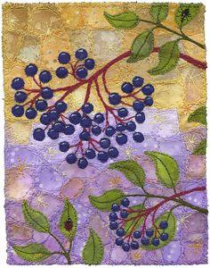 Elderberries with Ladybugs by Kirsten's Fabric Art on Flickr.