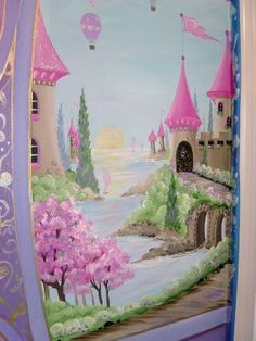 Close-up of the castle scene mural. Like the overall scene but not the pink.