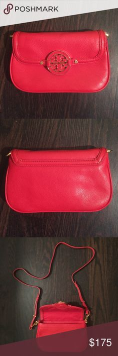 Tory Burch Mini Amanda Crossbody Authentic. Never used. Red leather with hidden magnetic closure and detachable strap. Great size for a night out. Tory Burch Bags Crossbody Bags