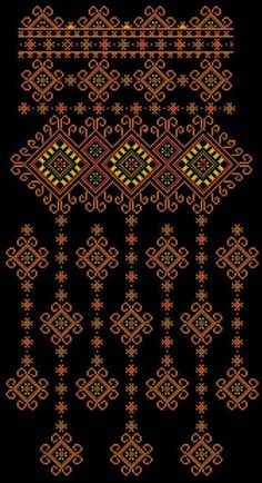 Beading _ Pattern - Motif / Earrings / Band ___ Square Sttich or Bead Loomwork ___ Embroidery Neck Designs, Couture Embroidery, Folk Embroidery, Cross Stitch Embroidery, Embroidery Patterns, Cross Stitch Geometric, Cross Stitch Borders, Cross Stitch Designs, Cross Stitching