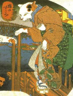 Utagawa Kuniyoshi, Cat enjoys the cool evening breeze 猫のすずみ