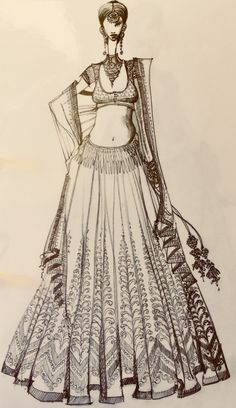 MOHHO by A&N #indian #indianbride #indianfashion #illustration #illustrationart #sketches #sketchbook #lehenga #indianwear #drawings #handdrawn #blackandwhite