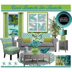 """""""Cool Beach In Reach"""" by truthjc on Polyvore Turqoise and Green Coastal Living Room"""