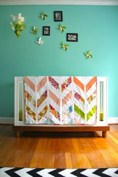 Herringbone Quilt by Iviebaby - contemporary - baby bedding - Etsy