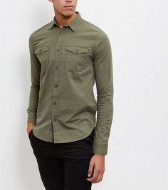 Khaki Double Pocket Long Sleeve Shirt - New Look