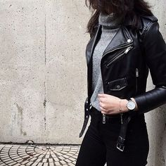 Fall trends | Black leather moto jacket over grey turtle neck and black skinnies