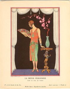 Georges Barbier illustration in the Gazette du Bon Ton, evening dress by the House of Worth