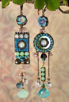 Elysium, asymmetrical earrings by MiaMontgomery on Etsy