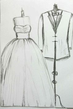 Custom couples Wedding dress drawing, white layered dress, pencils, drawing, custom bride & groom sketch, unique keepsake 8 x 12''