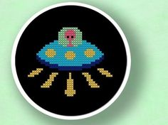 Alien UFO Landing. Cross Stitch Pattern PDF File by andwabisabi