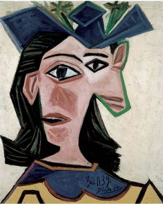 Painting by Pablo Picasso, 1939, Bust of Woman with Hat (Dora) Oil on canvas.