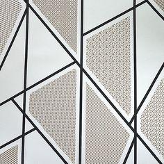 Primedecor.com.br - Papel de Parede Formas Geométricas - Branco com Preto e Marrom - Prime Decor