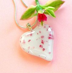 Valentines Fused Glass Pendant Necklace Pink Confetti Heart on White Glass Gift for Her
