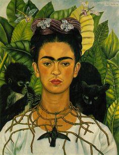 Frida Kahlo : Autoportrait avec le collier de Thorn et Hummingbird