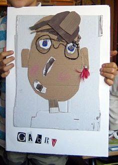 found things portrait making fun time-PatPat/MamaPat Childrens Workshop, Preschool Art Activities, Dark Art Drawings, Ecole Art, Cardboard Art, Father's Day Diy, Collage, Kindergarten Art, Middle School Art