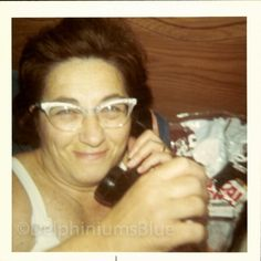 Digital Scan // Vintage // Color Photo // Woman on Phone Cat Eye Glasses1960's  0617 by foundphotogallery on Etsy