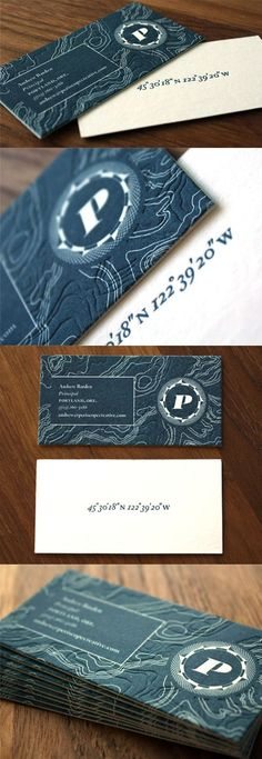 Elegant Textured Blue And White Letterpress Business Card For A Creative Agency: