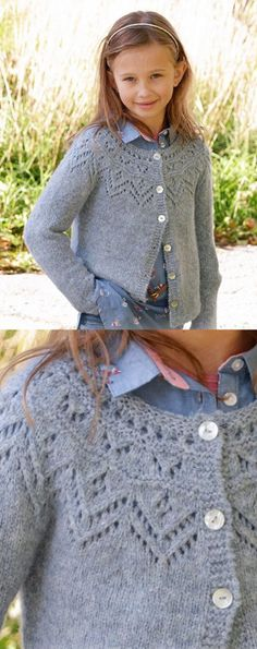 Free Knitting Pattern For A Girls Lace Yoke Cardigan , kostenloses strickmuster für eine mädchen-spitzen-joch-strickjacke , modèle de tricot gratuit pour un cardigan à empiècement en dentelle pour filles Kids Knitting Patterns, Knitting For Kids, Knitting Designs, Free Knitting, Baby Knitting, Knitting Tutorials, Knitting Machine, Knitting Projects, Tricot D'art