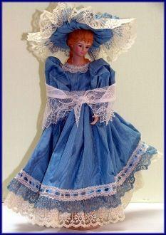 Sweet Dreamy Dana Handmade Victorian Wood Candlestick and Porcelain Head Art Doll by Linda Walsh