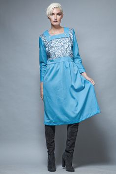 vintage 70s evening dress blue silver metallic long sleeves plus size XL 1X   :