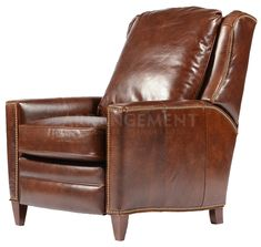 Irving Leather Recliner Our version of the classic club chair offers all the comfort of the original that's just right for a library, den, or living room. With a gentle push this armchair reclines to create the perfect spot for reading, napping, or watching the game. Added details like brass nail head trimming and plush seating makes this piece a must-have!