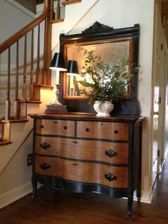Love the black & wood stain together #Repurposedfurniture Modern Furniture, Wood Furniture, Furniture Makeover, Entryway Tables, Buffet, Storage, Cabinet, Ideas, Home Decor
