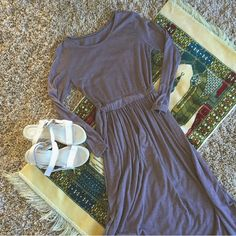 •• Japanese Style Mauve Maxi Sleeve Dress •• Beautiful neutral color for the minimalist! Japan Dresses