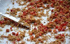 Pomegranates with sesame seeds